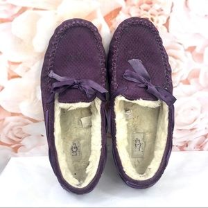 Ugg moccasins purple leather suede size 10